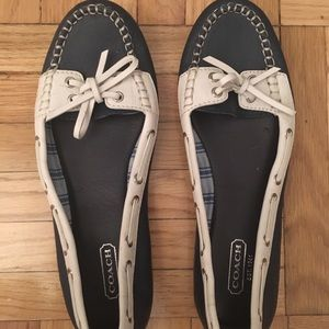 Coach Navy White boater Loafer Flats 6.5